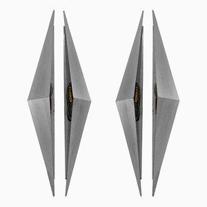 Dreieckige Wandleuchten, 1950er, 2er Set