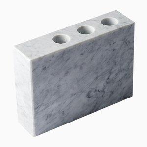 Portaspazzolini PLAT-EAU 01 in marmo di Carrara bianco di Silvia Fanticelli per Salvatori
