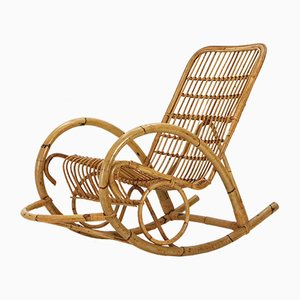 Rocking Chair en Rotin,1960s