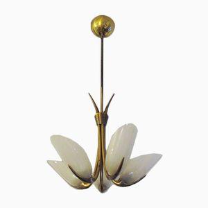 Italienische Mid-Century Deckenlampe aus Messing und Acrylglas