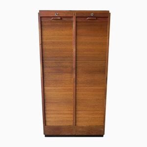 Oak Tambour Cupboard with 2 Doors, 1950s