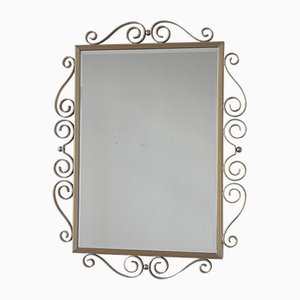 Specchio vintage con cornice in alluminio