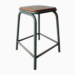 Industrial Steel Stool with Wooden Seat, 1950s