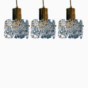 Deutsche Mid-Century Modern Kristallglas Hängelampen von Kinkeldey, 3er Set