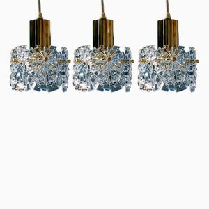 Mid-Century Modern German Crystal Pendant Lights by Kinkeldey, Set of 3