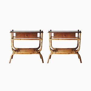 Italian Night Tables with Bamboo Structure from Bonacina, 1960s, Set of 2