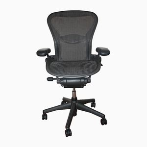 Aeron Office Chair with Lumbar Support in Black Aluminum by Don Chadwick for Hermann Miller, 2002