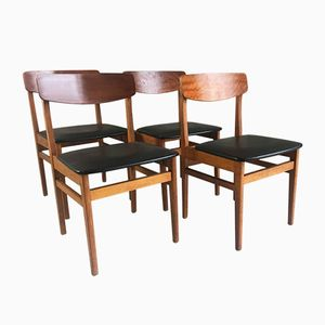 Mid-Century Czech Black Vinyl and Teak Dining Chairs by Ligna Drevounia, Set of 4