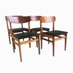 Tschechische Mid-Century Esszimmerstühle aus Schwarzem Vinyl & Teak von Ligna Drevounia, 4er Set