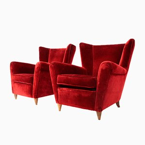 Italian Wingback Velvet Armchairs, 1950s, Set of 2