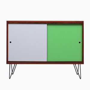 Sideboard in Teak Veneer with Colored Reversible Doors, 1960s