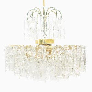 3-Tier Glass Tube Chandelier by Doria, 1960s
