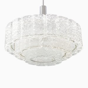 Large 3-Tier Chandelier with Ice Glass Elements from Doria, 1960s
