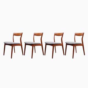 Dänische Vintage Teak Esszimmerstühle, 4er Set