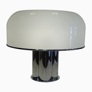 Large Table Lamp in Chrome and White Acrilic from Harvey Guzzini, 1968