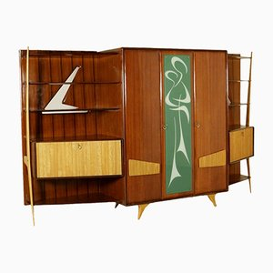 Italian Cabinet in Mahogany Veneer and Glass, 1950s
