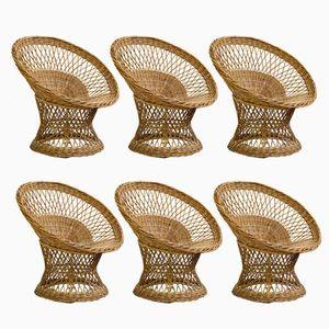 Vintage Wicker Basket Chairs, Set of 6