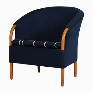 Danish Opus Chair with Blue Wool Upholstery by Jeki Møbler, 1980s