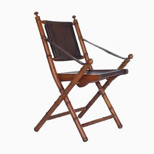 Vintage Leather and Teak Office Folding Chair