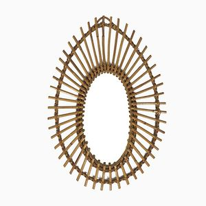 French Rattan Framed Mirror, 1960s