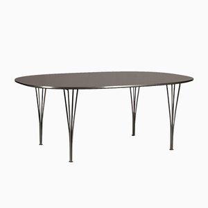Table Super Elips Table avec Plateau Noir par Bruno Mathsson & Piet Hein pour Fritz Hansen, Danemark, 1973