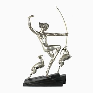 Diana with Fawns Bronze Figure by Marcel-Andre Bouraine, 1920s