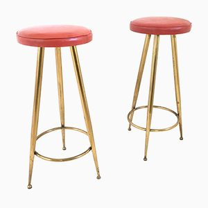 Italian Skai and Brass Stools, 1950s, Set of 2
