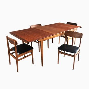 Mid-Century Danish Extendable Dining Table and Chairs Set from Ligna Drevounia