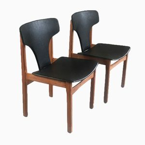 Mid-Century Modern Danish Black Vinyl and Teak Dining Chairs, Set of 6