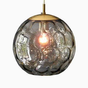 Mid-Century Modern Smoked Glass Pendant Lamp from Limburg