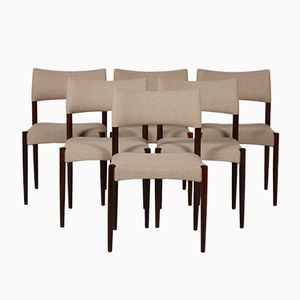 Chairs in Rosewood and Wool by Aksel Bender Madsen and Ejner Larsenin, 1960s, Set of 6