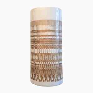 Vase Studio Line Oval Vintage Blanc et Or par Hans Theo Baumann pour Rosenthal, 1970s