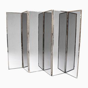 Paravent Miroir Mid-Century à Six Panneaux