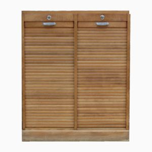 Industrial Oak Double Tambour Front Cabinet