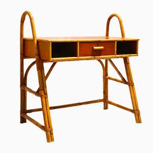 Desk in Bamboo, Teak, and Rattan, 1950s