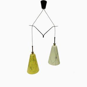 Lampada a sospensione con paralumi in fibra di vetro gialla e beige, anni '50