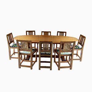 Vintage Esstisch aus Massiver Eiche und Acht Stühle von Robert Mouseman Thompson of Kilburn