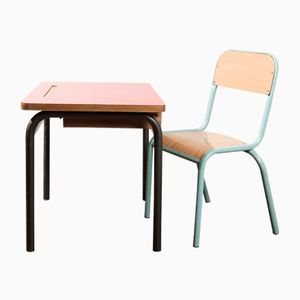 Children's School Desk & Chair from Delagrave, 1950s