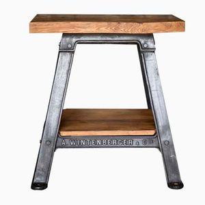 Tavolino vintage industriale in ghisa e legno