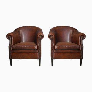Cognacfarbene Vintage Leder- Klubsessel, 2er Set