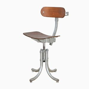 Vintage Industrial French Work Stool from Biensaise