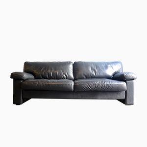 Black Leather Three-Seater Sofa