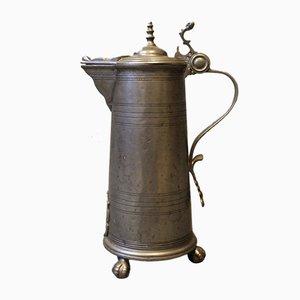 Große Zinn Tasse mit Deckel, 1780er