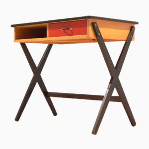 Mid-Century Tricolor Desk in Formica & Painted Wood