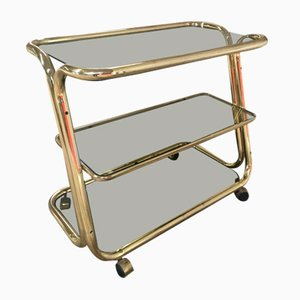 Italian Brass Plated Bar Cart, 1970s