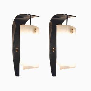 Applique da parete vintage in plexiglas curvato bianco e nero, Italia, set di 2