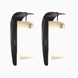 Vintage Italian Curvy Black & White Plexiglass Wall Sconces, Set of 2
