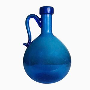 Vintage Dame Jeanne with Blue Bubble Glass Handle