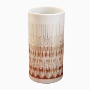 Runde Mid-Century Vase in Weiß & Gold von Hans Theo Baumann für Rosenthal Studio Line, 1970er