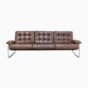 Vintage Sofa aus Leder & Chrom von Ikea